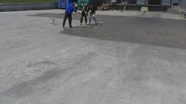 Etapa din lucrarea de protectie a betonului cu rasina poliuretanica - Sigilare protectie betoane noi sau