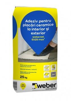 Adeziv pentru placari ceramice la interior si exterior - weberset EX25 max2 - Adezivi pentru gresie, faianta si piatra