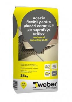 Adeziv flexibil pentru placari ceramice pe suprafete critice - weberset superflex max2 - Adezivi pentru gresie, faianta si piatra