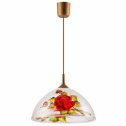 Lustra pictata manual trandafiri 1x60W E27, sticla - Iluminat corpuri de iluminat