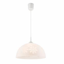 Lustra alb flori 1x60W E27, sticla - Iluminat corpuri de iluminat