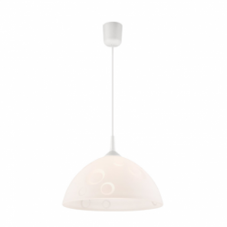 Lustra alb cercuri 1x60W E27, sticla - Iluminat corpuri de iluminat