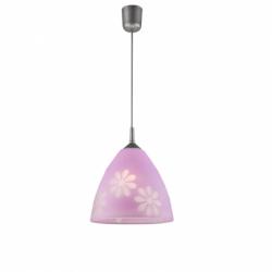 Lustra mov flori 1x60W E27, sticla - Iluminat corpuri de iluminat