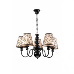 Lustra Bouli negru 5x60W E27, textil - Iluminat corpuri de iluminat