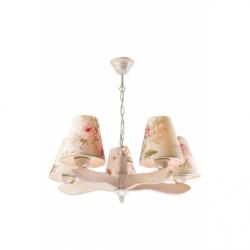 Lustra Aleksandra alb antic 5x60W E27, textil - Iluminat corpuri de iluminat