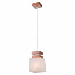 Lustra Kubus lemn natur 1x60W E27, sticla - Iluminat corpuri de iluminat