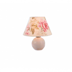 Veioza alb antic 1x60W E27, textil - Iluminat corpuri de iluminat