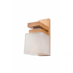 Aplica Kubus lemn natur 1x60W E27, sticla - Iluminat corpuri de iluminat