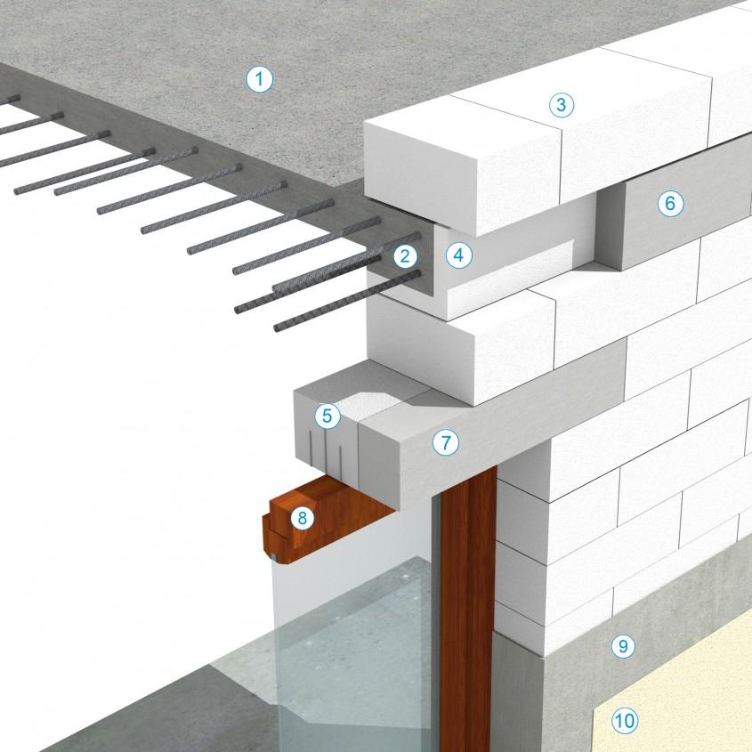 Detaliu de buiandrug prefabricat Macon si racordul cu centura realizata cu profile L - Sistem de zidarie confinata din BCA Macon pentru constructii rezidentiale, publice si industriale