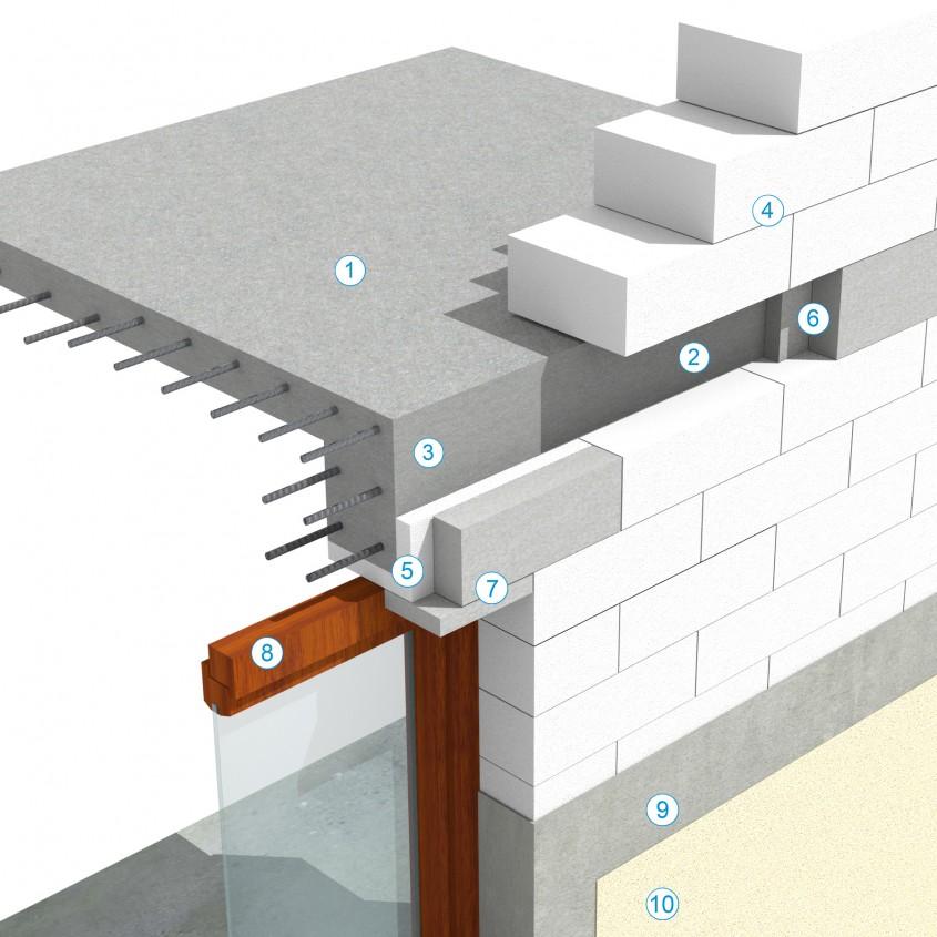 Detaliu de grinda (buiandrug unit cu centura) in dreptul unei deschideri pentru ferestre mai mari de 2 m - Sistem de zidarie confinata din BCA Macon pentru constructii rezidentiale, publice si industriale