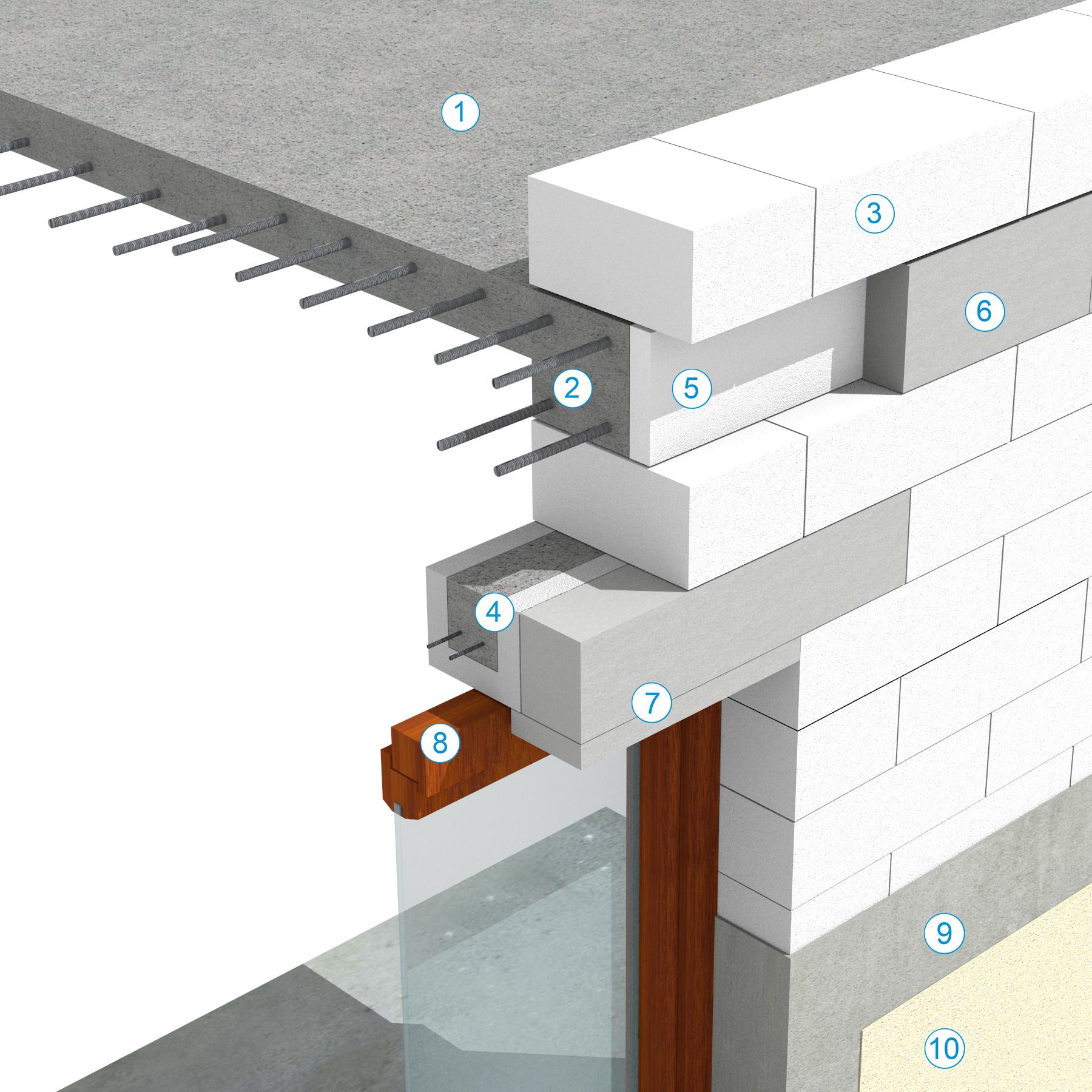 Detaliu  de buiandrug realizat din profil U si centura placata cu elemente de placare - Sistem de zidarie confinata din BCA Macon pentru constructii rezidentiale, publice si industriale