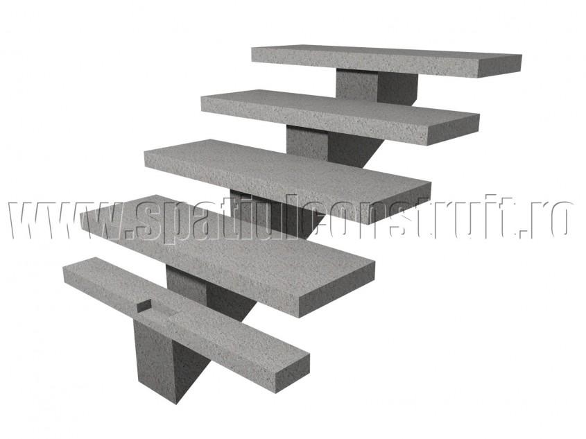 Scara din beton armat, cu vang si trepte prefabricate - Scari din beton armat
