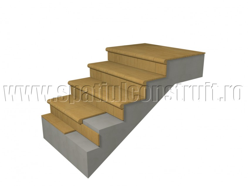 Scara din beton armat: placarea treptelor - Scari din beton armat