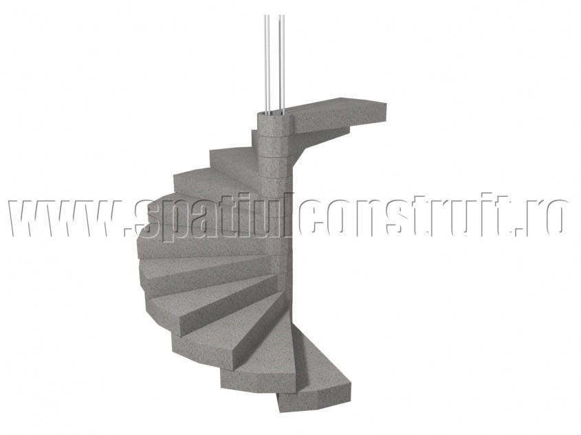 Scara din beton armat elicoidala, cu nod central - Scari din beton armat