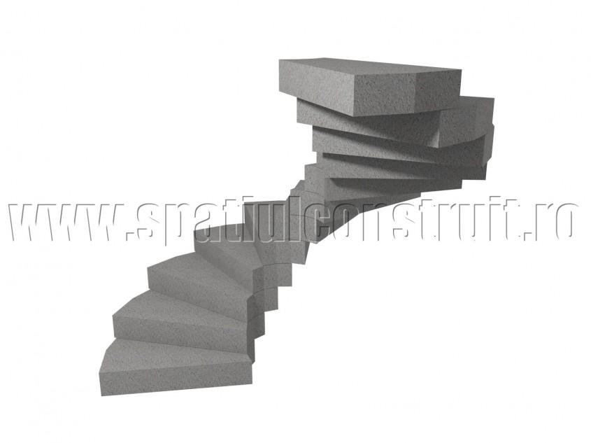 Scara din beton armat cu treptele incastrate in pereti - Scari din beton armat