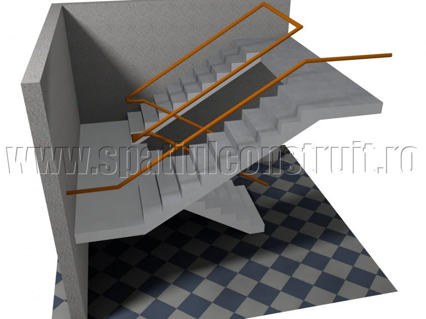Scara cu trei rampe, cu impartirea fluxurilor - Forma rampelor