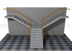 Scara cu trei rampe la 90 grade, cu impartirea fluxurilor - Forma rampelor