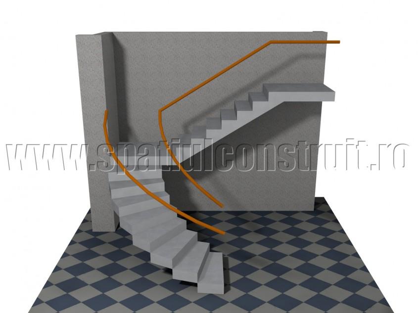 Scara cu o rampa curba si una dreapta - Forma rampelor