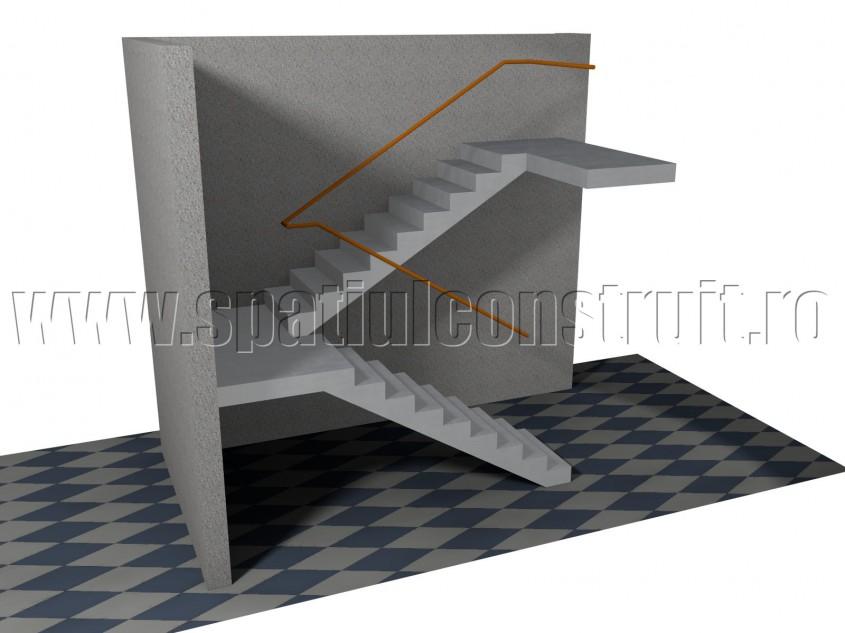 Scara cu rampe la 180 de grade, cu podest intermediar - Forma rampelor