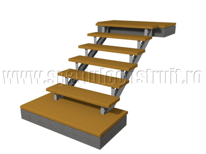 Scara pe structura de metal, cu trepte asezate pe vanguri - Scari pe structura de metal