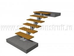 Scara pe structura de metal, cu vang central - Scari pe structura de metal