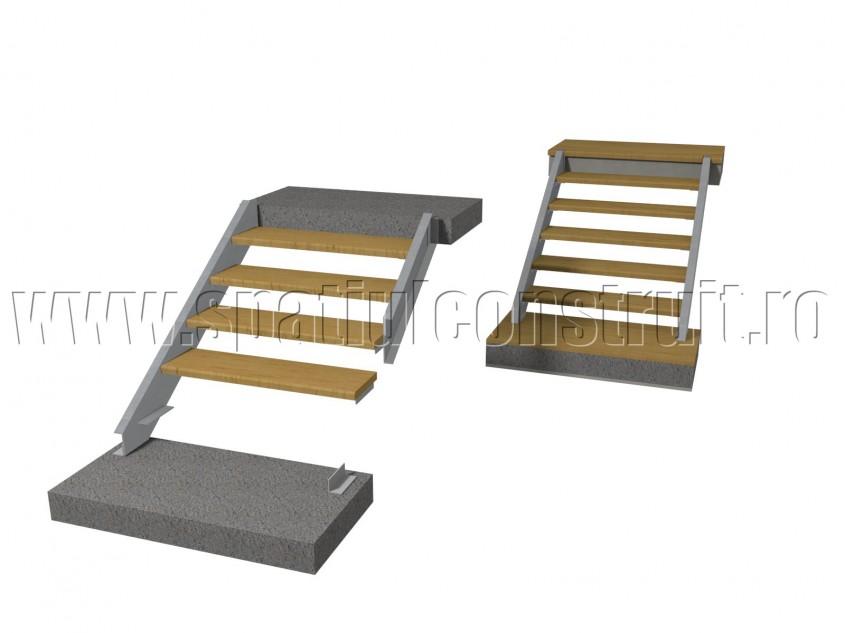 Scara pe structura de metal cu vanguri laterale si trepte prefabricate - Scari pe structura de
