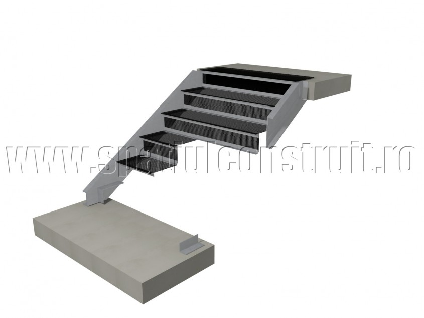 Scara pe structura de metal cu vanguri laterale si trepte metalice - Scari pe structura de
