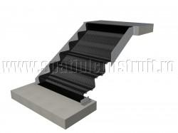 Scara pe structura de metal, cu vanguri si trepte de tabla - Scari pe structura de metal