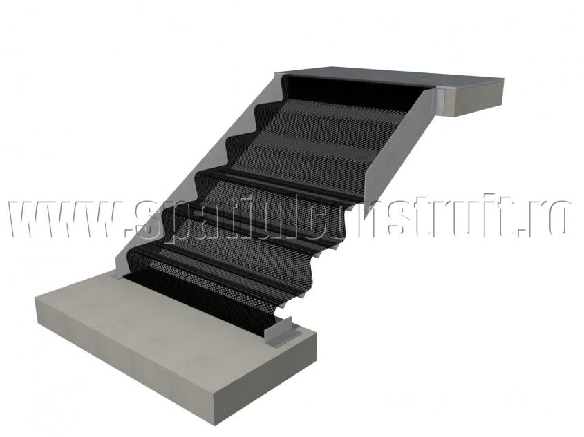 Scara pe structura de metal cu vanguri si trepte de tabla - Scari pe structura de