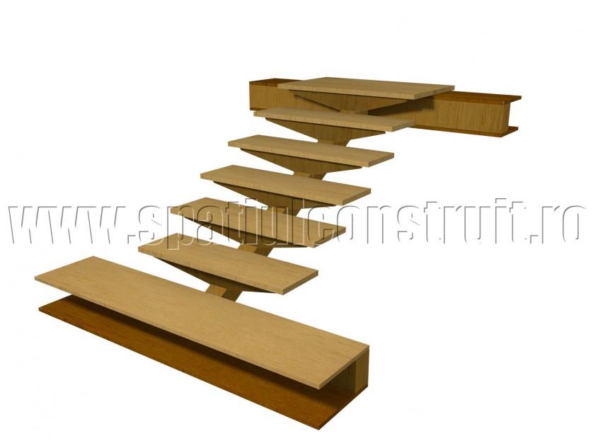 Scara pe structura din lemn cu vang central si trepte prefabricate - Scari pe structura de