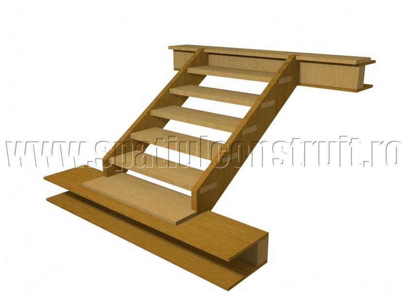 Scara pe structura din lemn cu trepte incastrate total in vanguri - Scari pe structura de