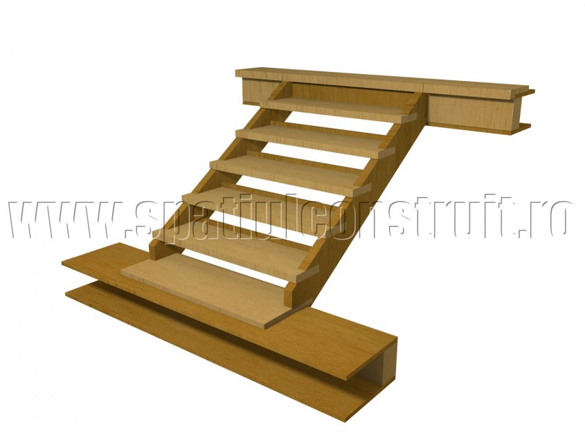 Scara pe structura din lemn, cu trepte semiincastrate in vanguri - Scari pe structura de lemn