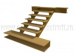 Scara pe structura din lemn, cu trepte prinse pe vang - Scari pe structura de lemn