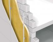 Termoizolatie exterioara in spatele fatadei de tip cortina cu Elastopor H - Perete exterior