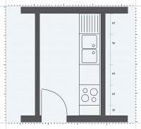 Bucatarie ingusta, cu un singur perete utilizabil - Pozitionarea mobilierului in functie de forma bucatariei