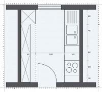 Bucatarie patrata, mica - Pozitionarea mobilierului in functie de forma bucatariei