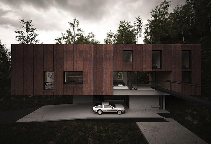 Casa pentru un fotograf rezolvata intr-un volum - Parcare