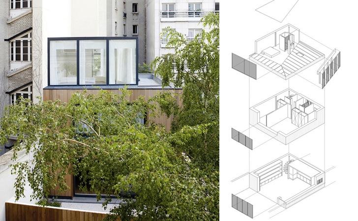 Locuinta inghesuita printre alte cladiri - Casa din Lemn din Paris
