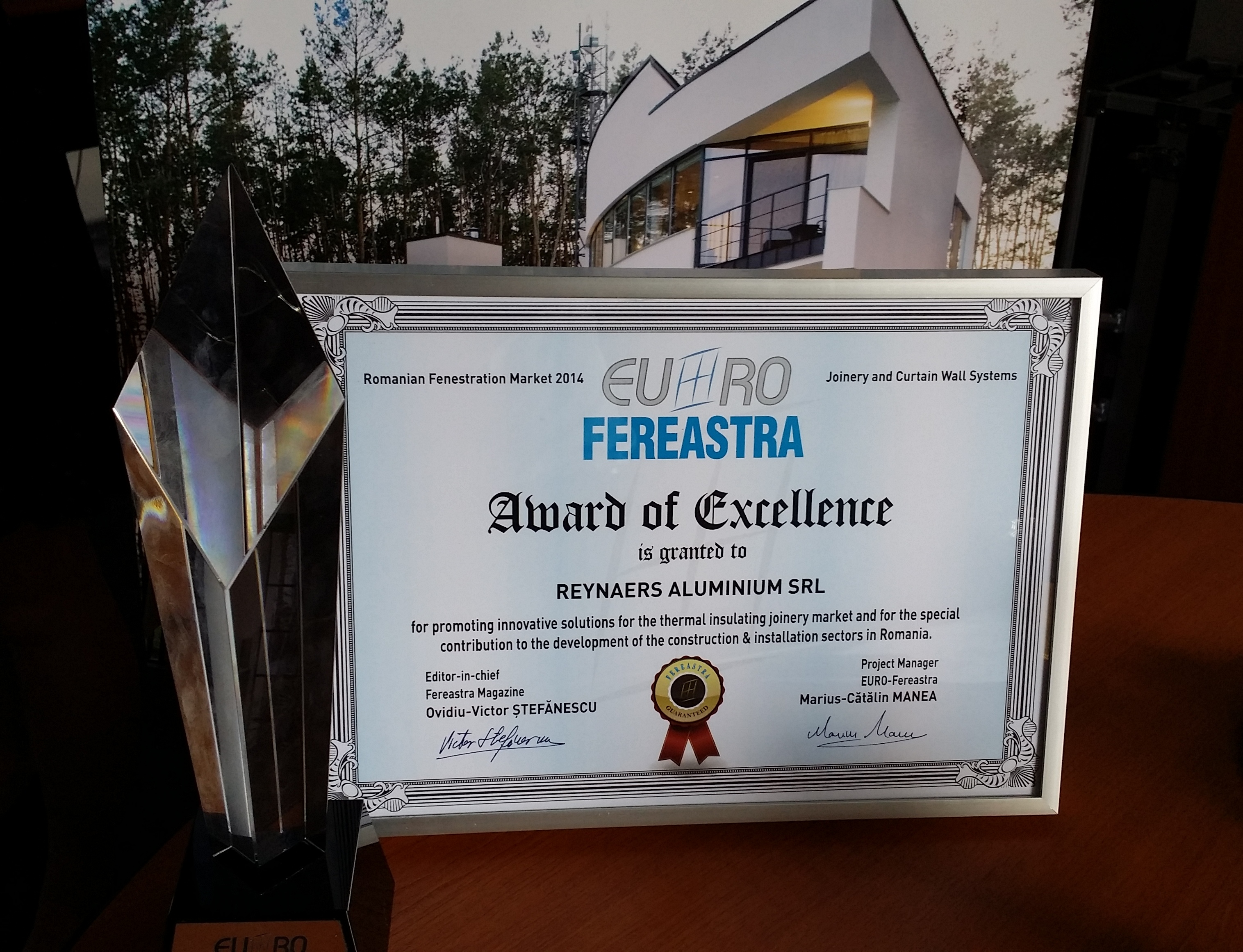Premiul de Excelenta pentru Reynaers Aluminium - Premiul de Excelenta pentru Reynaers Aluminium