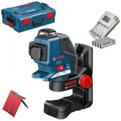 Nivela laser cu linii + Suport + L-BOXX + Incarcator cu 4 acumulatori AAA BOSCH Professional  GLL 3-80 P + BM 1  - Nivele cu laser