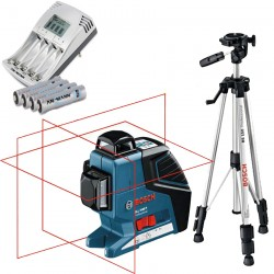 Professional Nivela laser cu linii + Stativ constructii BOSCH Professional GLL 3-80 P + BS 150 + Incarcator + Baterii - Nivele cu laser