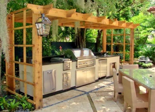 Bucatarie de vara deschisa cu pergola in stil contemporan - Cateva idei pentru amenajarea bucatariei de