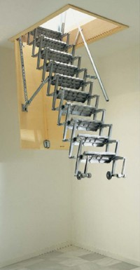 Scari retractabile metalice ALLUMIN - Scari retractabile pentru acces la terase, poduri si mansarde - ALLUMIN