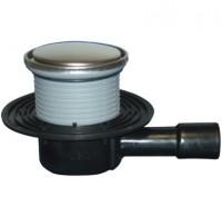 Sifon pardoseala cu iesire orizontala cu obturator de mirosuri + gratar inox - Sifoane de scurgere pentru pardoseala si accesorii
