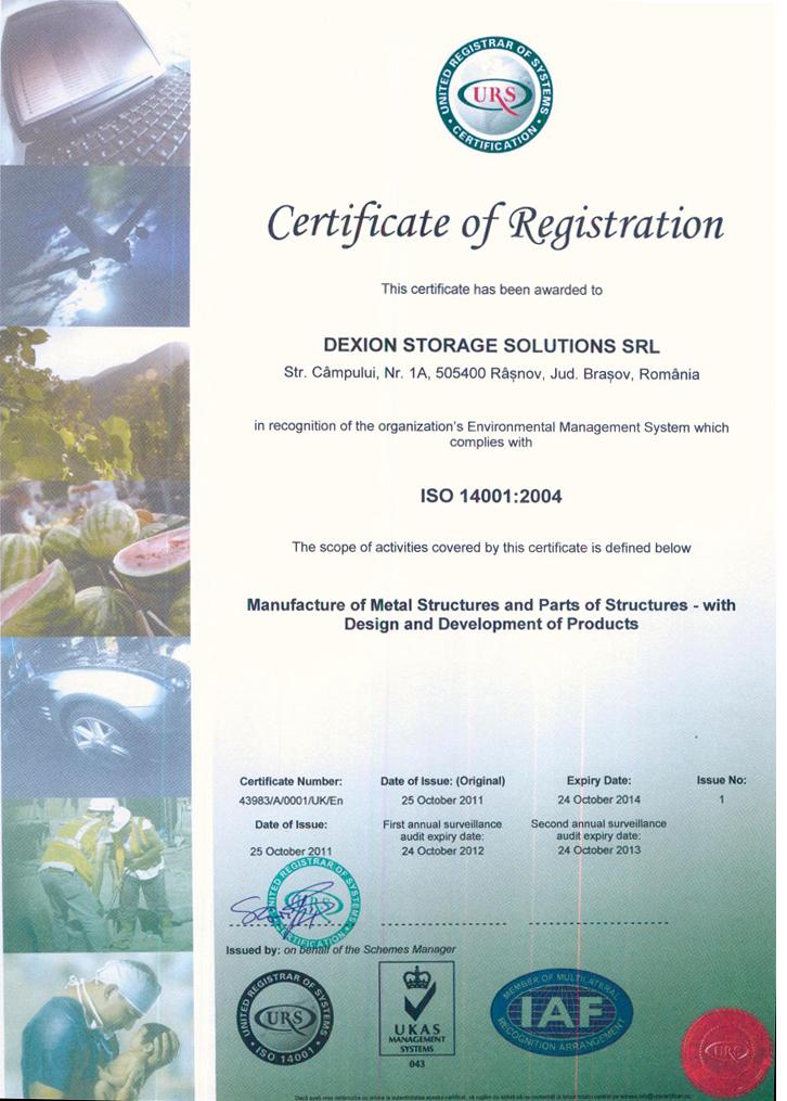 Certificat - Sistem de management al mediului ISO-14001 - Certificate