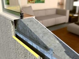 Modul de fixare a sistemului Thermomax pe perete din beton - Ansamblu cu fereastra - Montaj pe pereti - TERMOMAX