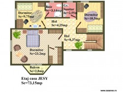 Plan etaj - Casa lemn Jesy