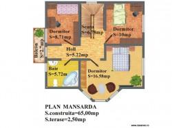 Plan etaj - Casa lemn Malina