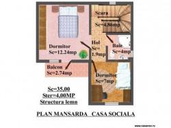 Plan etaj - Casa lemn Sociala