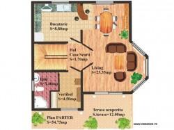 Plan parter - Casa lemn Vicentiu